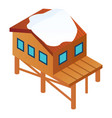 ski resort house icon isometric style vector image vector image