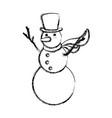 snowman christmas cartoon vector image vector image
