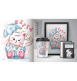 teddy cat poster and merchandising vector image vector image