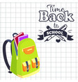 time back to school poster rucksack on leaflet vector image vector image