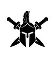 warrior helmet and swords vector image vector image