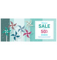 winter sale banner with colorful pinwheels vector image