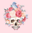 with human skull and flowers vector image