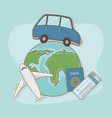 world planet with car and travel vacations items vector image vector image