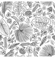sketch black and white set seamless pattern vector image