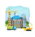 process building university with transport crane vector image