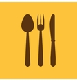 The spoon and fork and knife icon vector image