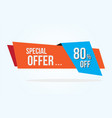 80 discount tag with special offer ribbon sale vector image