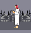 arabic men praying vector image vector image