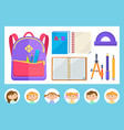backpack and stationery pupils and notebooks vector image vector image