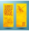 Banners with rose and dragonfly in doodle vector image