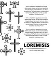 black and white vintage crosses poster backdrop vector image vector image