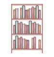 books stacked in shelf of three levels in colorful vector image vector image