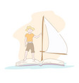 boy in hat floating on book with sail vector image vector image