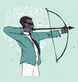 businessman with bow and arrow archery business vector image vector image