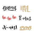calligraphic christmas set vector image