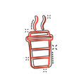 cartoon coffee cup icon in comic style tea mug vector image vector image