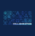 collaboration outline blue modern banner vector image vector image