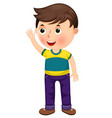 cute cartoon little boy with a raised hand vector image vector image