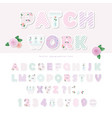 cute textile font for scrapbook or collage design vector image vector image
