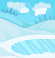 day in winter forest snowy landscape background vector image vector image