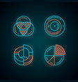 diagrams neon light icons set data graphic vector image