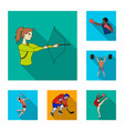 different kinds of sports flat icons in set vector image vector image