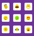 flat icon face set of have an good opinion vector image vector image