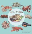 flat sea food round concept vector image