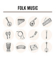 folk music isolated hand drawn doodles vector image vector image