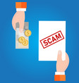 fraud investment scam money transaction with vector image