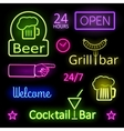Glowing Neon Lights Bar Signs on Black Background vector image