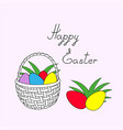 happy easter with basket and easter eggs vector image vector image