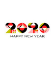 happy new year 2020 logo with geometric numbers vector image