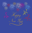 happy new year hand lettering on blue background vector image vector image