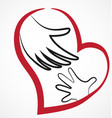 helping hand with loving heart vector image vector image