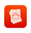 house blueprint icon digital red vector image vector image
