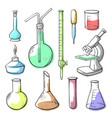 laboratory equipment glassware hand drawn