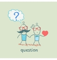 man with a question mark goes with a girl with a vector image vector image