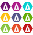 money bag with us dollar sign icon set color vector image vector image