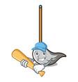 playing baseball mop character cartoon style vector image vector image