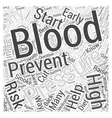 Preventing High Blood Pressure Word Cloud Concept vector image vector image