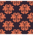 Purple and peach floral seamless pattern vector image