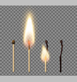 realistic match stick flame icon set vector image vector image