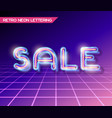 retro glass neon lettering vector image vector image