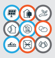 Set of 9 ecology icons includes home sun power