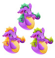 set of fantasy animals purple color isolated on vector image