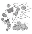 set of knitting tools clothes and yarn vector image