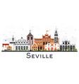Seville spain city skyline with color buildings