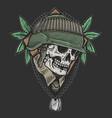 skull veteran army vector image vector image